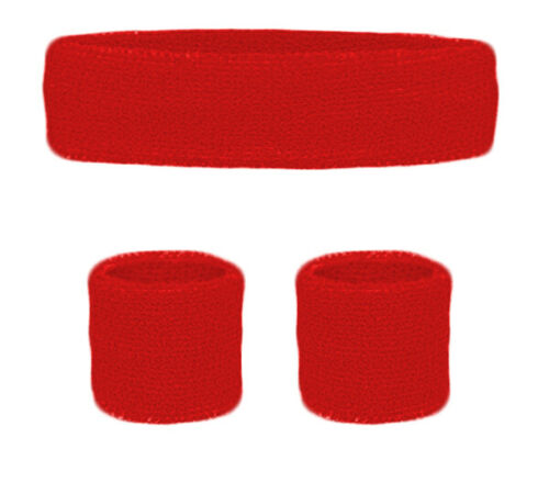 RED Sweatbands Wristbands Headband Bright Wrist Bands Fancy Dress 80s 90