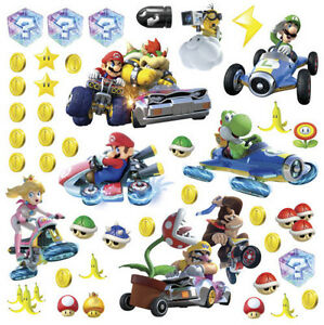 MARIO-KART-8-wall-stickers-44-decals-Nintendo-Luigi-Peach-Yoshi-Bowser-decor