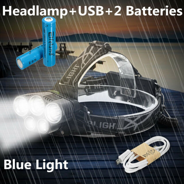 100000LM 5x T6 LED Rechargeable Headlamp 2x18650 Headlight Torch Flashlight Lamp