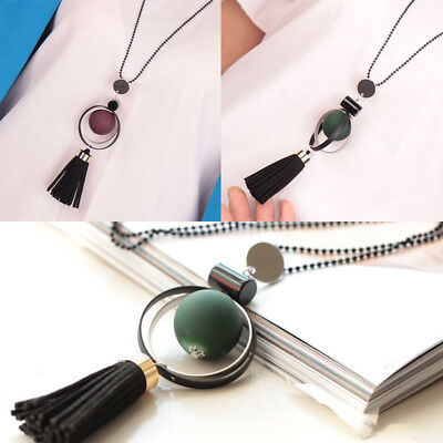 Long Beads Chain Tassel Wood Beads Pendant Necklace Fashion Jewelry New