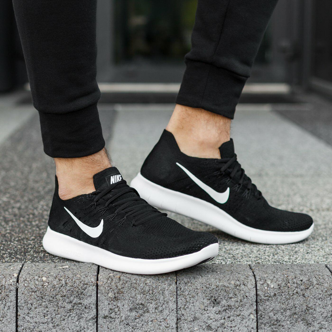 Nike Free RN Flyknit 2017 White Black Men's Running shoes Size 11.5 NEW