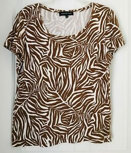 Jones-New-York-Womens-Size-Large-Brown-amp-White-Short-Sleeve-Top-Blouse