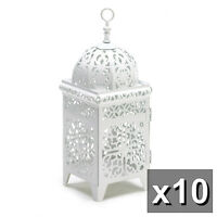 Lot of 10 White Scrollwork Candle Lantern Wedding Centerpieces