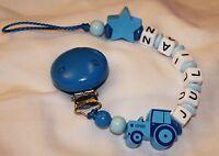♥ Schnullerkette Mit Namen ♥ Traktor Mit Stern Blau ♥ Handgefertigt ♥ Junge Baby