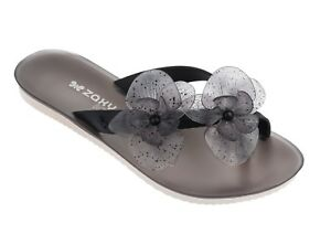 8ff1ac166b9 Zaxy NEW Ice Flower smoke black fashion flip flops flat sandals sizes ...