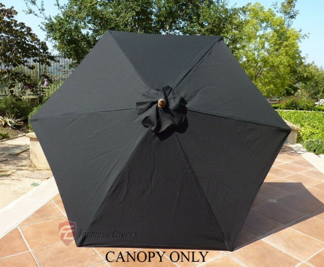 Formosa Covers 9ft Umbrella Replacement Canopy 6 Ribs In Black