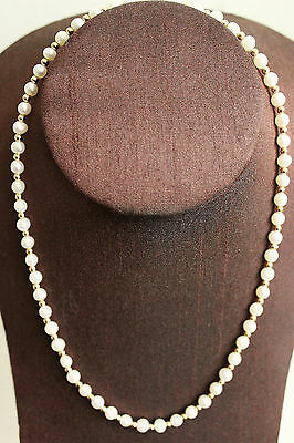 """PJS  VINTAGE 14K SOLID GOLD CLASP CULTURED PEARL GOLD  BEADS NECKLACE 18"""""""