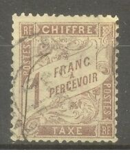 FRANCE-STAMP-TIMBRE-TAXE-N-25-034-TYPE-DUVAL-1F-MARRON-1884-034-OBLITERE-TB