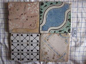 Quattro riggiole piastrelle mattonelle maioliche antiche in cotto