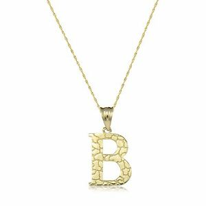 image is loading 10k yellow gold nugget initial letter necklace pendant