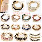Bracelet Bresilien Bohême Chaîne Doré Tressé Multicolore Bijoux Fantaisie Mode