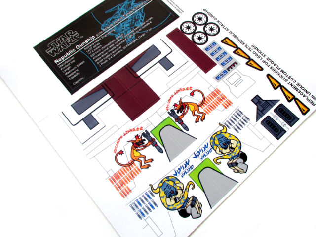 STAR WARS 'DIE CUT' REPLACEMENT STICKERS for Lego 7676 REPUBLIC ATTACK GUNSHIP +