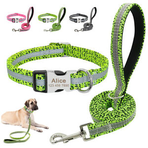 Reflective-Personalized-Dog-Collar-and-Leash-Set-ID-Name-Tag-Customised-Engraved