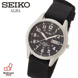 New-034-ALBA-Military-Solar-Watch-AEFD557-amp-Box-Water-Resist-Daydate-F-S-from-JP