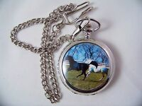 Quartz Pocket Watch With Lid Chain And Pair Of Horses Gift