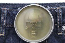 Men Women Silver Metal Halloween Fashion Belt Buckle Skeleton Skull Gothic Punk