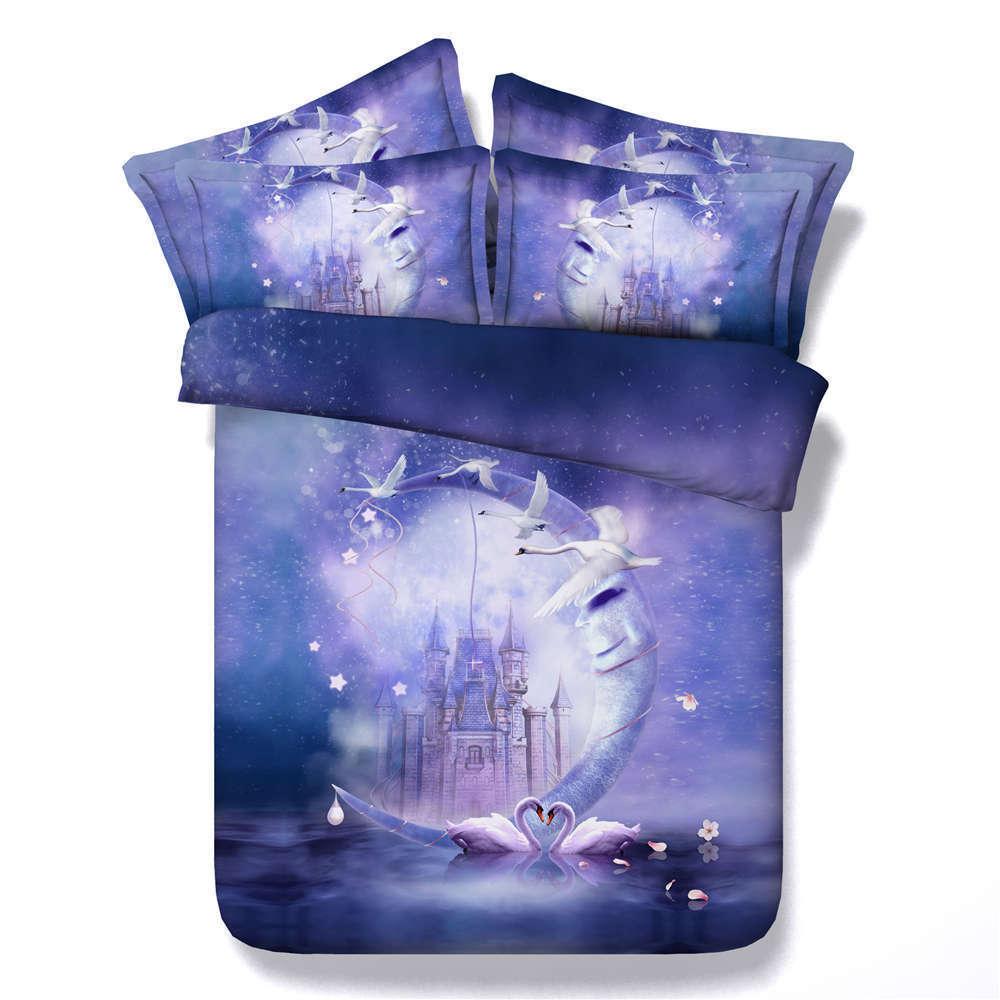 Exclusive Swan 3D Printing Duvet Quilt Doona Covers Pillow Case Bedding Sets