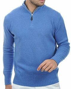 4 Cashmere Balldiri 100 Mottled Troyer Fädig Blue L Heren Pullover XxaOOAn1