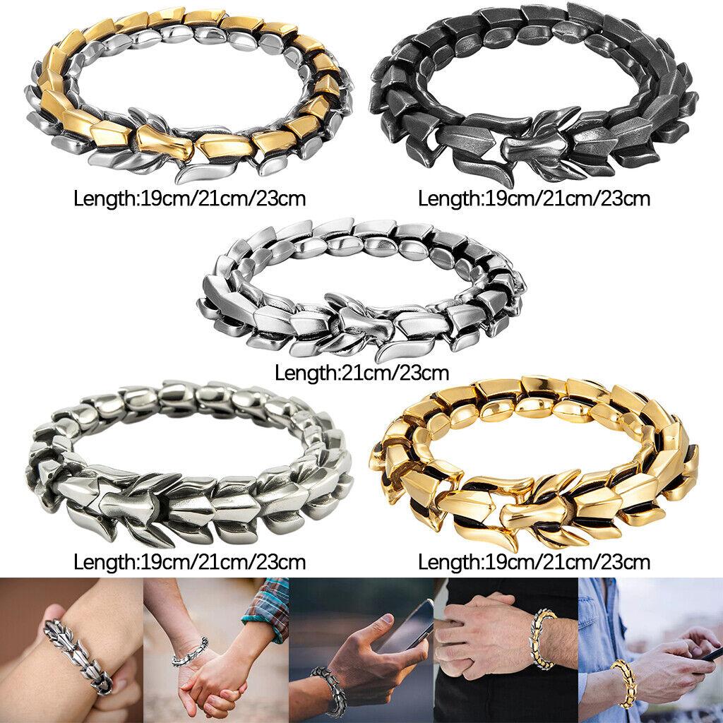 Herren-Drachen-Form-Armband, Titanstahl-Drachenschuppen-Armband, Biker,