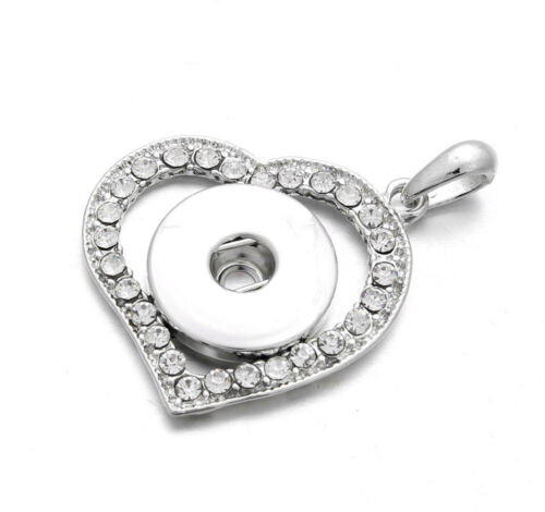 Crystal Amour Cœur Collier Pendentif Drill Snap Fit Noosa Chunk charm bouton