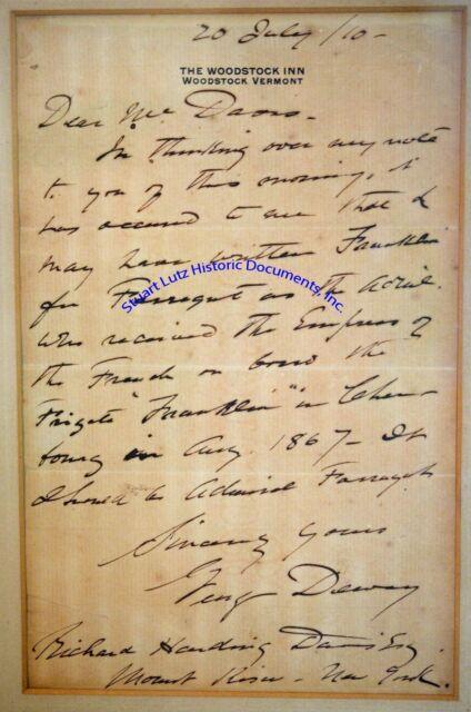 George Dewey handwritten letter re Admiral David Farragut - Woodstock Inn Vermnt