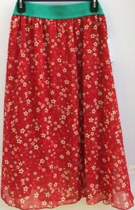 224b0ec9c8 LuLaRoe Lola 2XL Skirt Floral Flowers Red Green Cream Orange Fall ...
