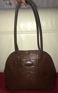 Image Is Loading Vintage Mulberry Croc Congo Handbag Brown Leather Tote