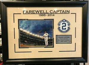 Derek Jeter New York Yankees 2 Photos Framed Memorabilia Mlb Farewell Captain Ebay