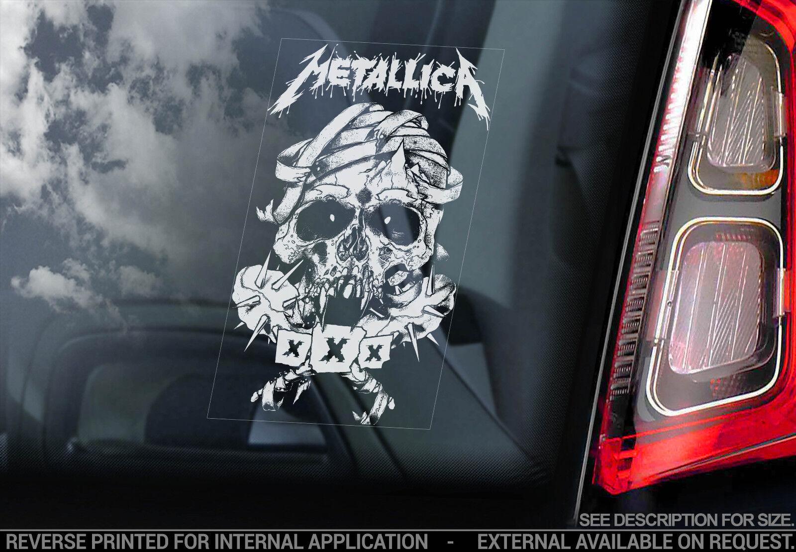 metallica vitre voiture autocollant collier pc portable rock musique vinyle ebay. Black Bedroom Furniture Sets. Home Design Ideas