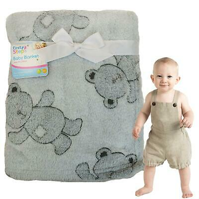 First Steps Supersoft Fleece Baby Blanket 75x100cm Pink Elephant