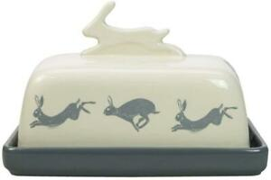 CREAM GREY HAND CRAFTED STONEWARE ARTISAN HARE BUTTER DISH KITCHEN DINING