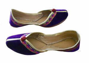 Women-Shoes-Indian-Handmade-Purple-Leather-Ballet-Flat-Jutties-UK-5-EU-38