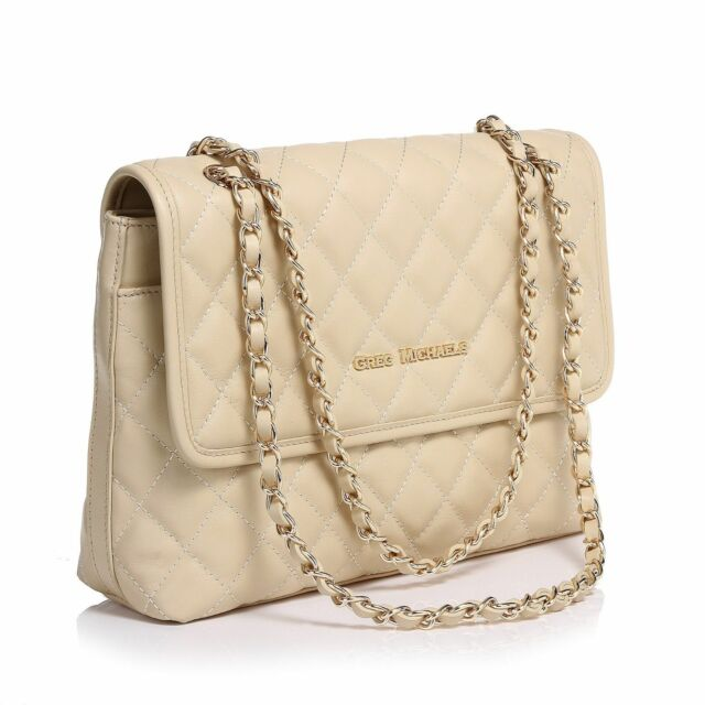 260742627e Arianna Quilted Tote Nappa Leather Handbag Purse Milky White - Greg  Michaels bag