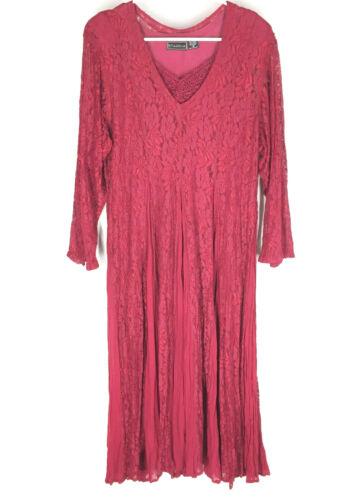 Starina Vtg 90s Women's Medium Red Lace Maxi Dress