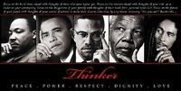 Thinker: King,obama,malcolm,mandela & Marley (18x36 In - Black History Poster)