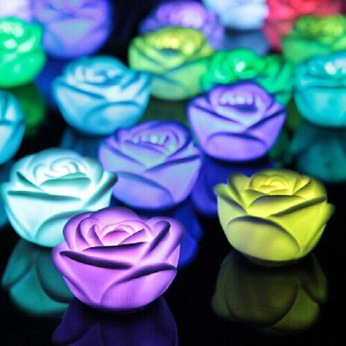 Rose Flower LED 7 Color Changing Light Lamp Candle Tea Light Home Decoration UK