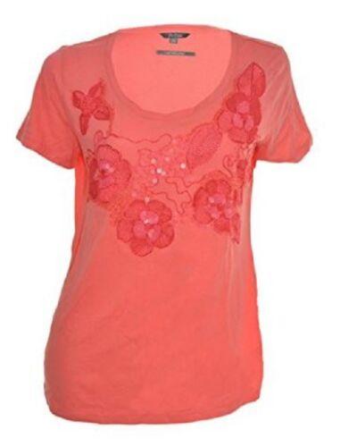 Po Pori Shirt Top Embellished Short Sleeve Scoop Neck Coral Choose M L XL #6928