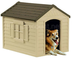 Medium Dog Cat House Removable Roof Pet Weather Top Clear Door Flaps Vent Small