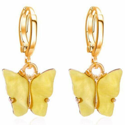 Plating Metal Earrings Acrylic Butterfly Earrings Sweet Colorful Earrings ZX