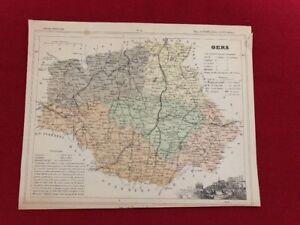 Ancienne Carte Géographique Du Département Du Gers Atlas National Prix RéDuctions