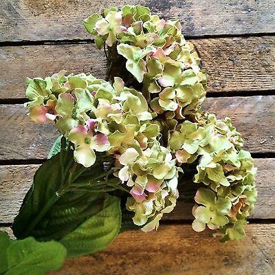 Bunch of 3 Green Faux Silk Hydrangeas, Realistic Artificial Flowers
