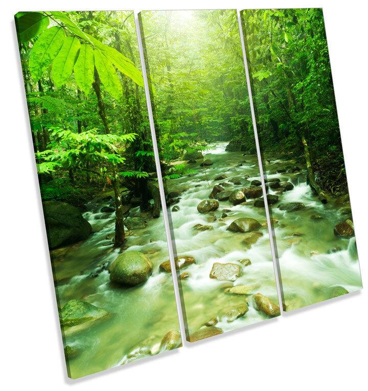 verde foresta PAESAGGIO FIUME triplicare CANVAS Wall Art quadrato quadrato quadrato foto stampa fd45ed