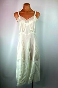 Carol-Brent-Vintage-70s-Dress-Slip-Bridal-White-Lace-Long-Nightgown-Lingerie-34