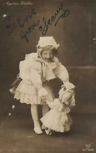 VINTAGE Angelica Walter REAL PHOTO CUTE GIRL with DOLL POSTCARD - to Balranald