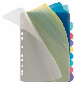 Ordnerregister, PP, blanko, 5-farbig transparent, A4, 220 x 297 mm, 10 Stück ...