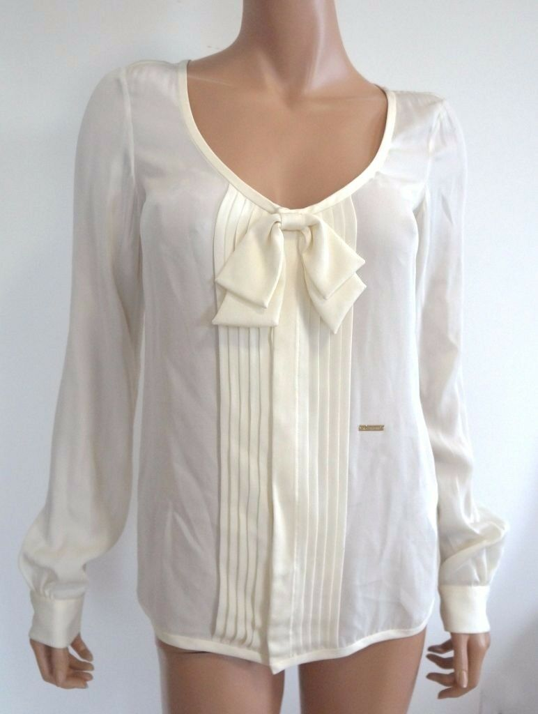 Authentic DSQUArot2 Ivory 100% SILK Bow Top 38 US-4
