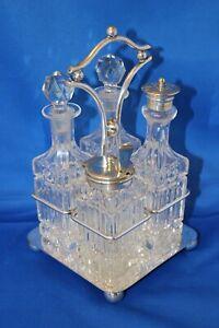 Antique-Barker-Bro-EPNS-Silver-Plate-Crystal-Cut-Glass-Cruet-Condiment-Set-Stand