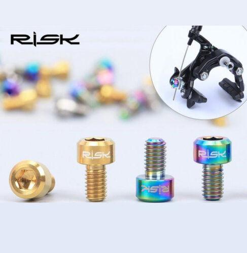 4x RISK TC4 Titanium Screws M6x10mm for Brake Bike Bicycle DIY Parts