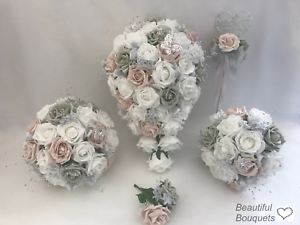Image Is Loading Wedding Bouquets Blush Pink Silver Grey Flowers Bride