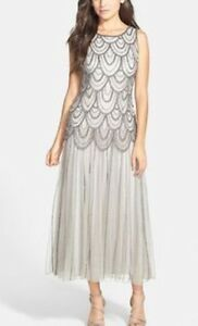 48f1e199099d Image is loading Pisarro-Nights-Beaded-Silver-Blouson-Evening-Gown-Mesh-